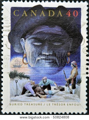 Canada - Circa 1991: A Stamp Printed By Canada, Shows Folktales, Buried Treasure, Circa 1991