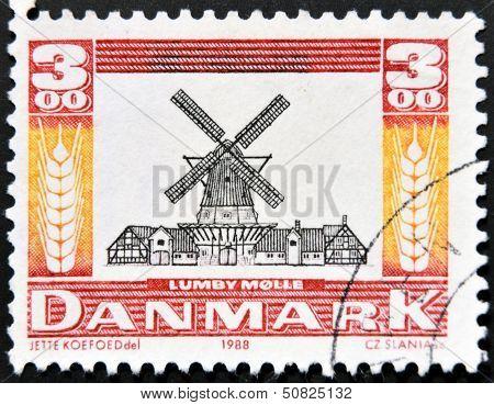 Denmark - Circa 1988: A Stamp Printed In Denmark A Dutch Windmill, Lumby Molle, Circa 1988