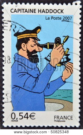 France - Circa 2007: A Stamp Printed In France Shows The Cartoon Character, Captain Haddock