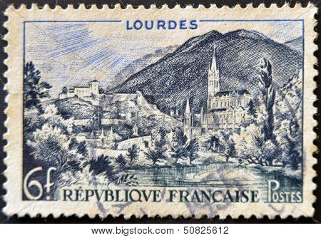A Stamp Printed In France Shows Lourdes