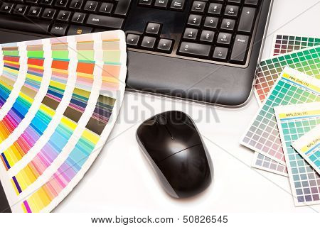 Color Swatches And Computer Keyboard, Mouse