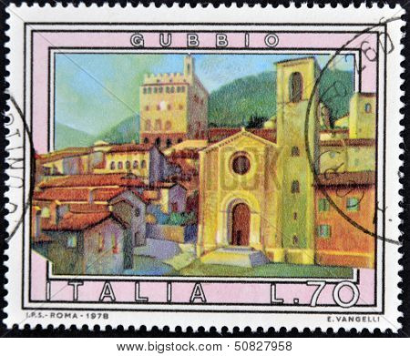 Italy - Circa 1978: A Stamp Printed In Italy Shows Gubbio, Circa 1978