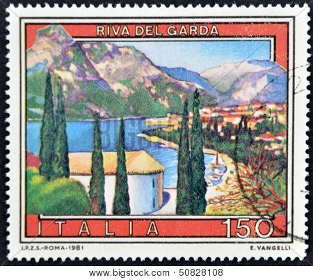 Italy - Circa 1981: A Stamp Printed In Italy Shows Riva Del Garda, Circa 1981