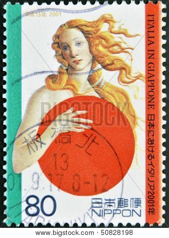 JAPAN - CIRCA 2001: A stamp printed in Japan shows Botticelli's Venus covering with Japanese symbol