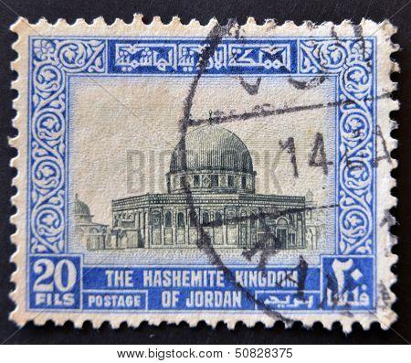 Jordan - Circa 1949: A Stamp Printed In Jordan Shows The Hashemite Kingdom, Circa 1949