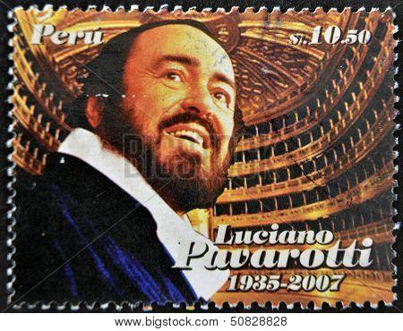 Peru - Circa 2009: A Stamp Printed In Peru Shows Luciano Pavarotti, Famous Tenor, Circa 2009