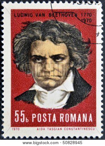ROMANIA - CIRCA 1970: stamp printed by Romania show Ludwig van Beethoven Composer circa 1970.
