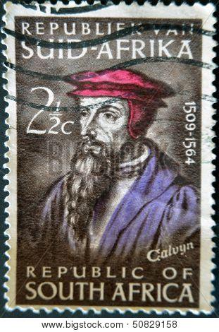 REPUBLIC OF SOUTH AFRICA - CIRCA 1964: A stamp printed in RSA shows John Calvin