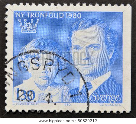 a stamp printed in the Sweden shows King Carl XVI Gustaf and Crown Princess Victoria