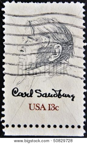stamp printed in USA shows Picture of Carl Sandburg by William A. Smith