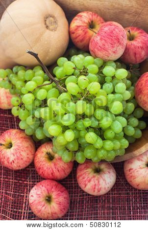 Autumnal Ripe Fruits And Veg - Green Grape, Red Apples And Pumpkin