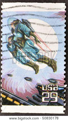 United States - Circa 1993: Stamp Printed In Usa Shows Flying Men, Circa 1993