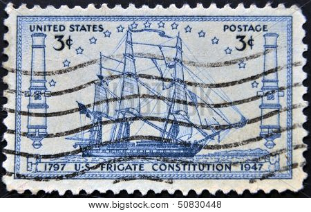 A stamp printed in the USA shows US frigate Constitution 1797