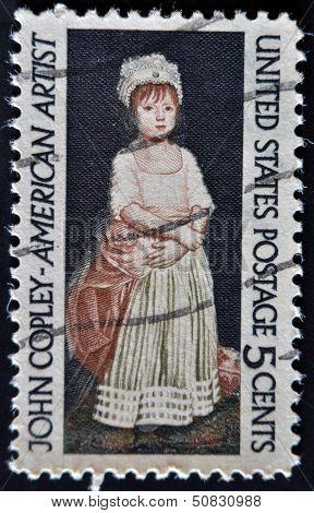 A stamp printed in USA shows a picture of Elizabeth Clarke by John Copley