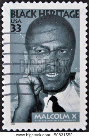 stamp printed in USA shows Malcolm X African-American Muslim minister black heritage