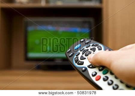 Tv Remote Control. Television Football.