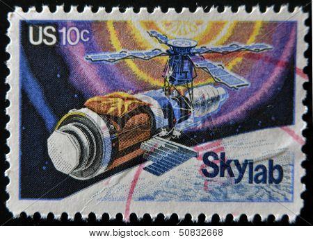 United States - Circa 1974: A Stamp Printed In Usa Shows Skylab, Circa 1974