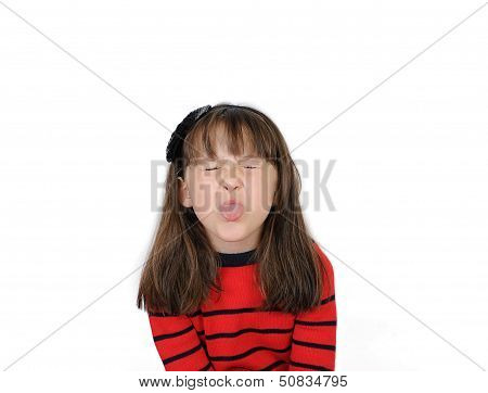 Saucy Little Girl Sticking Out  Tongue. Isolated