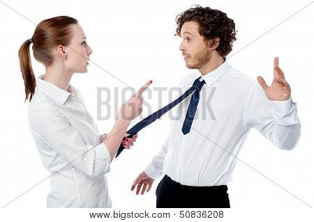 Businesswoman Scolding Her Colleague