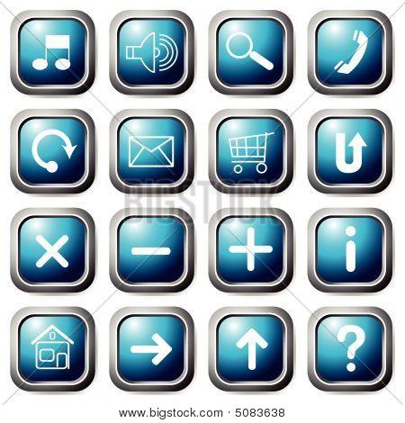 Aqua Square Buttons.