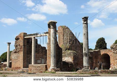 Ruins of a Temple in Ostia Antica