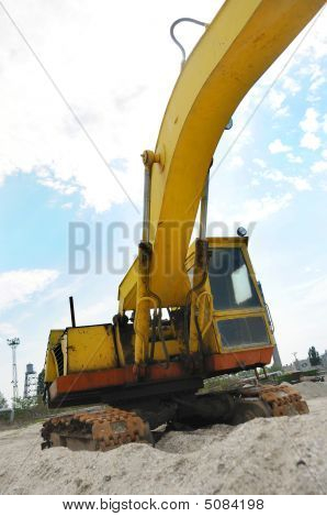 A Powerful Digger Is Parked
