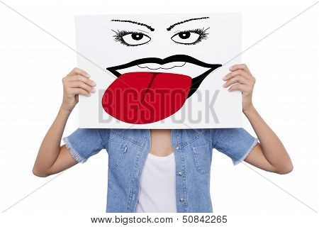 Young Girl Holding A Sign With Drawing Front Of Her Face