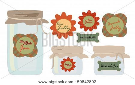 Labels Set. Collection of labels with Jars of Jelly and Jam