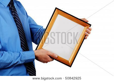 Businessman Holding Certificate