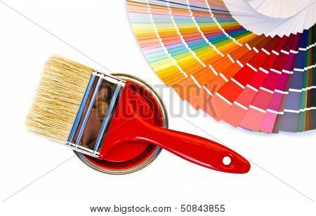 Red paint and swatch.