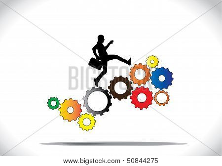 A Profession Businessman Running Up The Colorful Gears Which Are Co-ordinating With Each Other