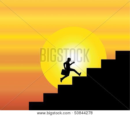 A Professional Businessman Running Up The Stairs Which Are With a Bright sun