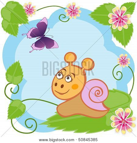 Snail and butterfly among flowers