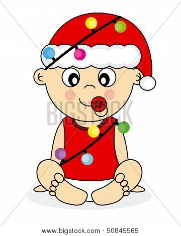 baby dressed christmas lights