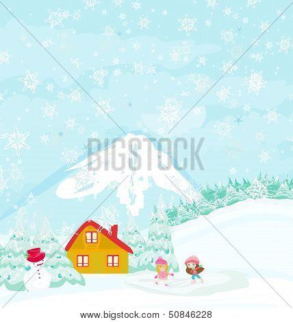 Winter Landscape - Girls On Skates