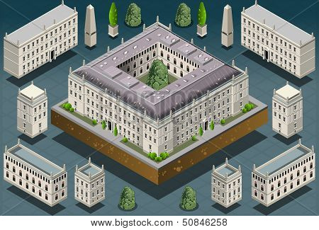 Isometric European Historic Building