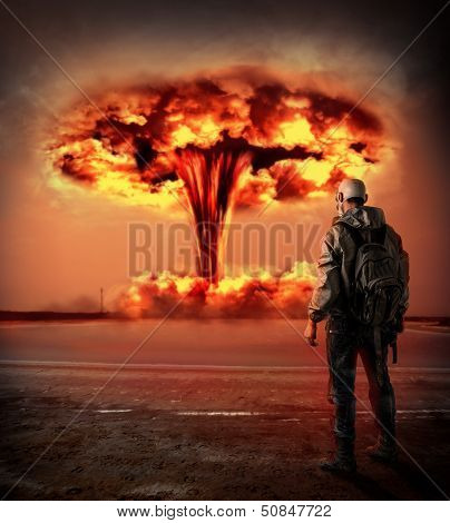 World Apocalypse. Nuclear Explosion Outdoor.