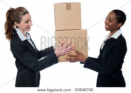 Woman Handing Over Cardboard Boxes
