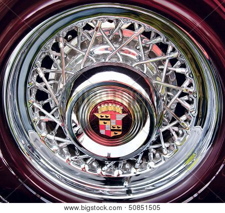 Wheel Of Classic Old Car Close-up