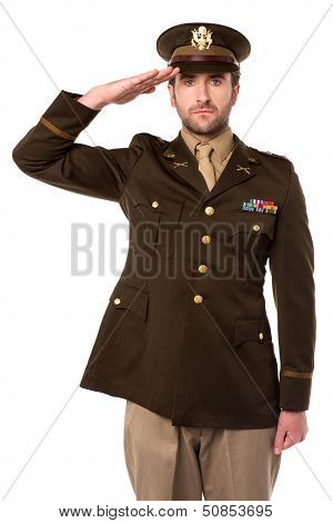 Us Army Officer In Saluting His Senior