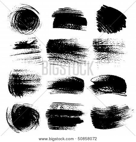 Textured brush strokes drawn a flat brush and ink  set 2
