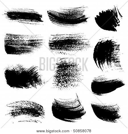 Textured brush strokes drawn a flat brush and ink  set 3