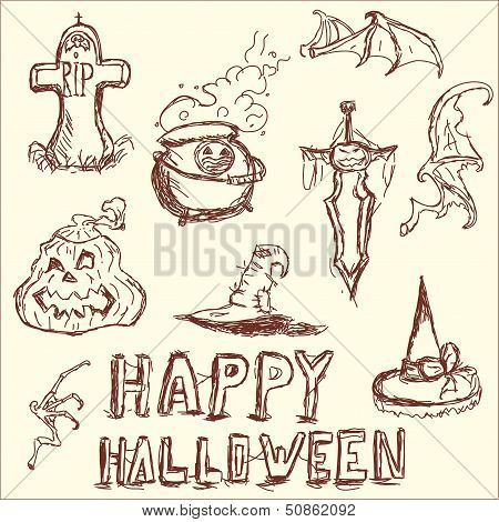 Vector illustration. The elements of Halloween.