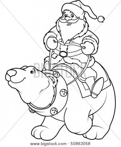 Santa Claus riding on the back of a friendly polar bear