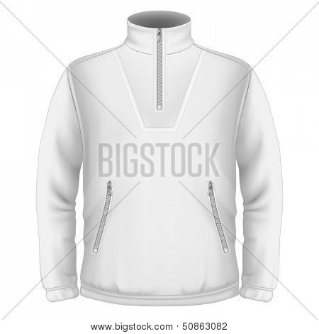 Photo-realistic vector illustration. Men's fleece sweater design template (front view). Illustration contains gradient mesh.
