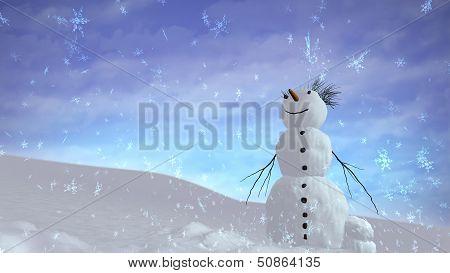 Snowman Sky Happy
