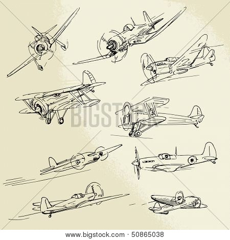 hand drawn old airplanes