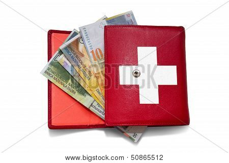 Red Wallet Swiss Franc
