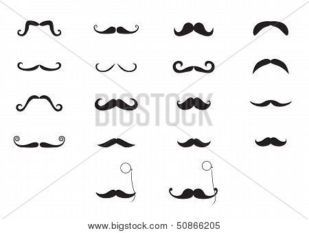 Vector moustache icon set