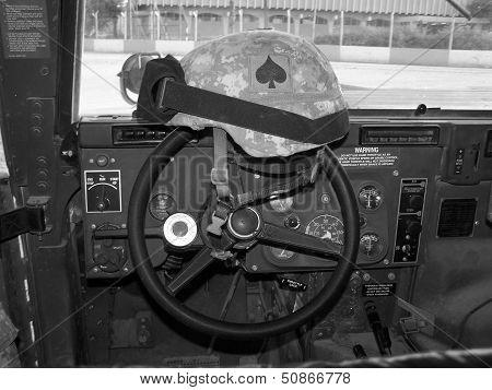 Helmet in a HUMVEE